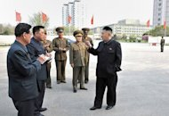 North Korean leader Kim Jong-Un (R) inspects the Victorious Fatherland Liberation War Museum, under construction in Pyongyang, May 7, 2013
