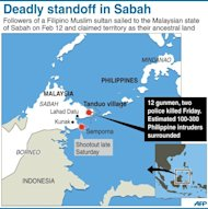 Graphic showing the area of deadly standoff in Malaysia's Sabah between Malaysian forces and followers of a Filipino Muslim sultan who is claiming the territory as his ancestral land
