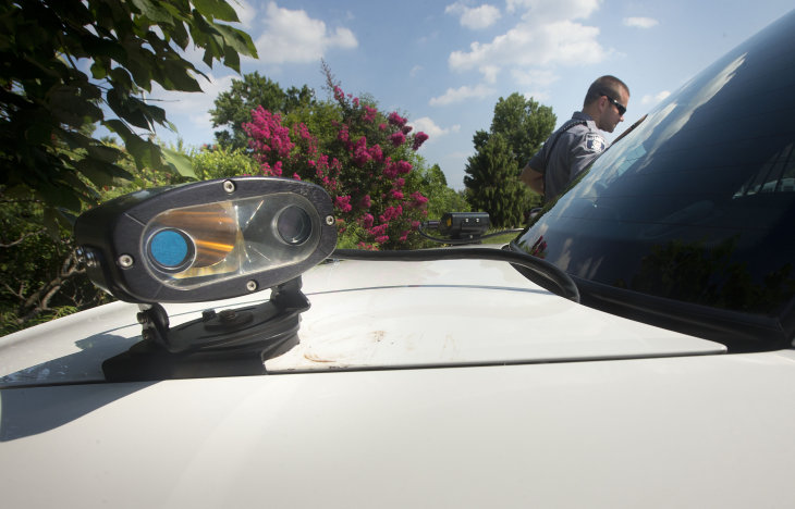 License-plate scanner on a police car. Photo: AP