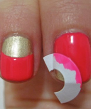 Use label moons for a quirky re-styling of the French mani