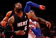Carmelo Anthony (R) of the New York Knicks and Miami Heat's LeBron James during game four of the NBA Eastern Conference playoff series on May 6. The Knicks won 89-87
