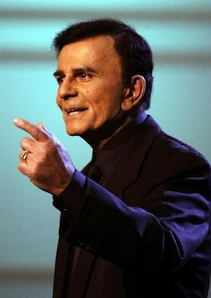 "US television and radio personality Casey Kasem appears on the ""American Top 40 Live"" show in Los Angeles."