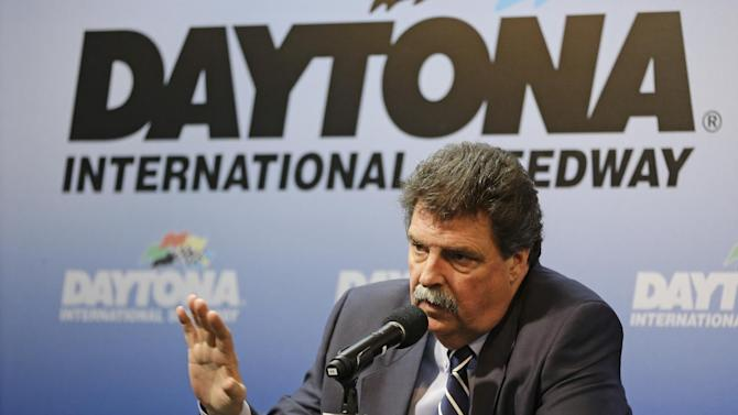 Michael Helton, president of NASCAR, speaks at a news conference during Sprint Cup auto racing testing at Daytona International Speedway in Daytona Beach, Fla., Thursday, Jan. 9, 2014