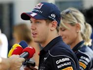 Red Bull Formula One driver Sebastian Vettel of Germany talks to the media ahead of the Abu Dhabi F1 Grand Prix at the Yas Marina circuit in Abu Dhabi October 31, 2013. REUTERS/Ahmed Jadallah