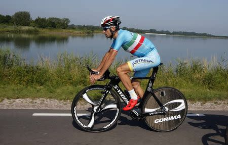 Astana rider Vicenzo Nibali of Italy cycles during a team training session in Utrecht