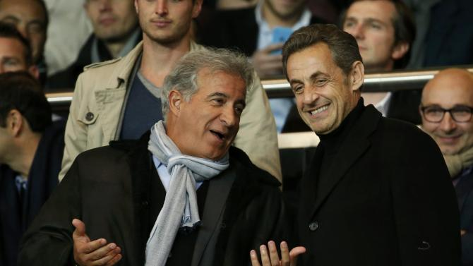 Former French President Sarkozy attends the French Ligue 1 soccer match between Paris st Germain and St Etienne at the Parc des Princes Stadium in Paris
