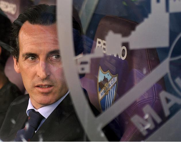 Sevilla's coach Unai Emery pictured at the Spanish league match against Malaga in Malaga on May 23, 2015