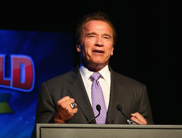 Schwarzenegger speaks on stage during the Arnold Classic Australia in Melbourne. (Photo by Robert Cianflone/Getty Images)