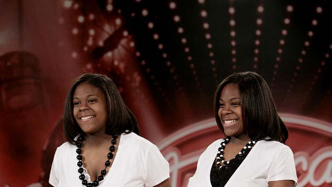 Philadelphia Contestants: L-R: Maleah Flowers and Malissa Flowers, 16, Philadelphia, PA auditioning on the 7th season of American Idol.