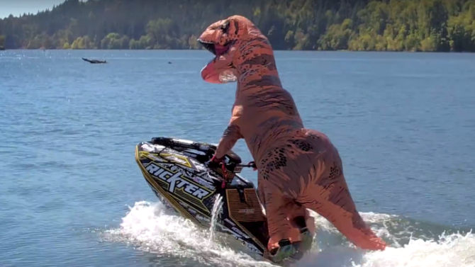 Say goodbye to summer 2016 with this video of a T-Rex doing sick jet ski stunts