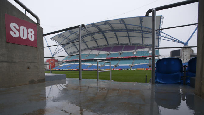 General view of the stadium in the rain
