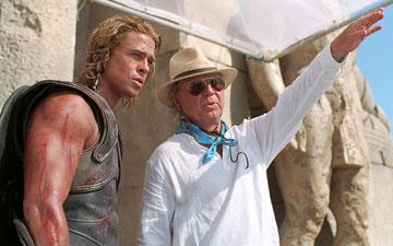 Brad Pitt and director Wolfgang Petersen on the set of Warner Brothers' Troy