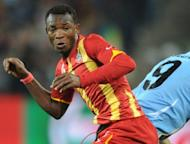 Ghana defender John Paintsil (L) pictured during the 2010 World Cup quarter-final against Uruguay at Soccer City stadium in Soweto, suburban Johannesburg, on July 2, 2010. Former Fulham, West Ham and Leicester City defender Paintsil was released on bail Saturday after his arrest over allegations that he stabbed his wife, Ghana's police told AFP