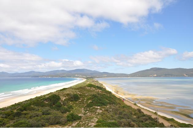 In case you're wondering, it's not all about food. Tasmania is also a destination of stunning vistas and blue seas. This picture was taken at The Neck, in Bruny Island. On the left you see the tide co