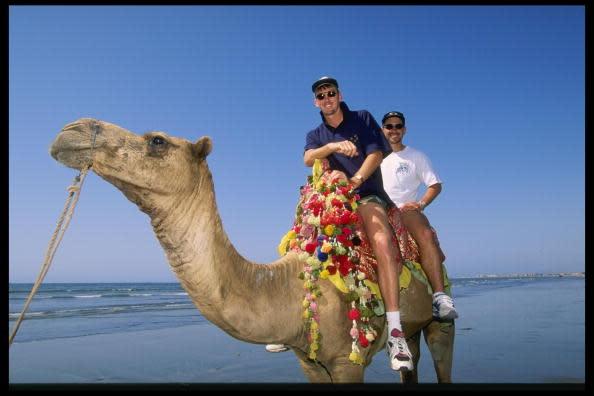 McGrath and Langer camel ride
