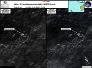 Satellite imagery provided to Australian Maritime Safety Authority (AMSA) of objects that may be possible debris of the missing Malaysia Airlines Flight MH370 in a revised area 185 km (115 miles) to the south east of the original search area in this picture released by AMSA March 20, 2014. A Search aircraft are investigating two objects floating in the southern Indian Ocean off Australia that could be debris from a Malaysian jetliner missing for 12 days with 239 people on board, officials said on Thursday. REUTERS/Australian Maritime Safety Authority/Handout via REUTERS