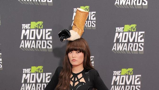 Hana Mae Lee arrives at the MTV Movie Awards in Sony Pictures Studio Lot in Culver City, Calif., on Sunday April 14, 2013. (Photo by Jordan Strauss/Invision/AP)