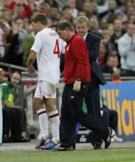 "England manager Roy Hodgson (R) gestures after captain Steven Gerrard is sent off during their World Cup qualifying match against Ukraine on September 11. ""I don't think there was a bad tackle in the game, was there? And I think the referee's given seven yellow cards,"" Gerrard said"