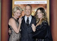 "Cast members Emma Thompson (L), Tom Hanks and his wife Rita Wilson (R) attend the film premiere of ""Saving Mr. Banks,"" at the Walt Disney Studios in Burbank, California, December 9, 2013. REUTERS/Kevork Djansezian"