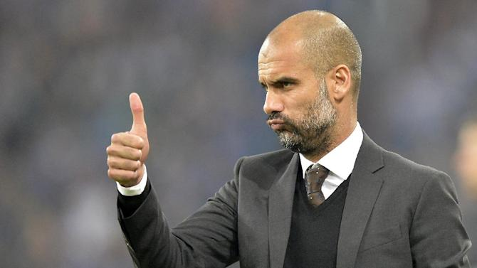 Bayern head coach Pep Guardiola of Spain gestures during the German soccer Bundesliga match between FC Schalke 04 and Bayern Munich at the arena in Gelsenkirchen, Germany, Saturday, Sept. 21, 2013. Schalke was defeated by Bayern with 0-4