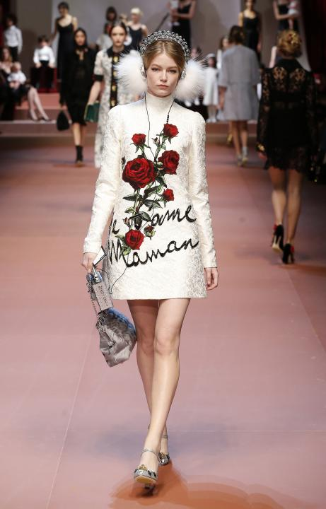 Model presents a creation from the Dolce & Gabbana Autumn/Winter 2015/16 collection during Milan Fashion Week