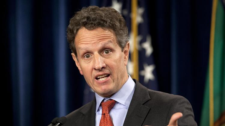 FILE - This Feb. 2, 2012 file photo shows then Treasury Secretary Timothy Geithner during a news conference at the Treasury Department in Washington. Geithner will write a book focusing on his response to the financial crisis, The Associated Press has learned. Geithner, 51, will be represented by Washington-based attorney Robert Barnett, who confirmed Wednesday, Feb. 6, 2013, that Geithner would be meeting with publishers, but otherwise declined comment. Barnett has negotiated deals for President Obama and former Secretary of State Hillary Rodham Clinton. (AP Photo/Carolyn Kaster, file)