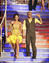"In this Monday, Nov. 21, 2011 photo provided by ABC, J.R. Martinez, right, is shown with his partner Karina Smirnoff on the celebrity dance competition series, ""Dancing with the Stars,"" in Los Angeles. Martinez and Smirnoff won the dance competition on Tuesday Nov. 22, 2011. (AP Photo/ABC, Adam Taylor)"
