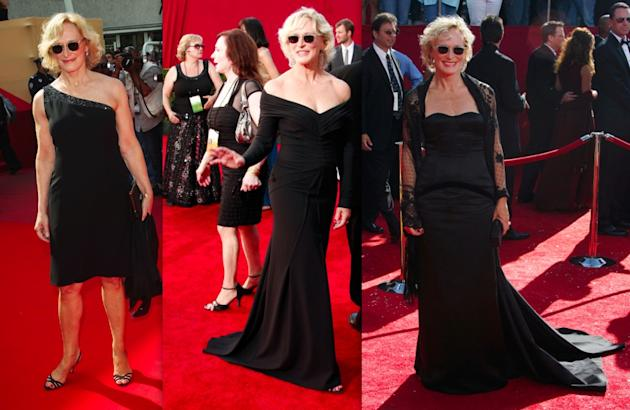 Glenn Close's black gowns and dark sunglasses