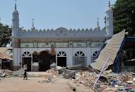 A partially destroyed mosque after sectarian violence, in Gyobingauk, on March 28, 2013. Riots killed 43 people in central Myanmar