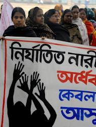 Activists from the women's wing of the Communist Party of India- Marxist (CPI-M), pictured in Siliguri on January 8, 2013, during a protest against the gang rape and murder of a student in the Indian captial New Delhi. Indian police have arrested six men over the rape of a passenger on a coach in the northern state of Punjab, weeks after a similar attack in New Delhi sparked nationwide protests