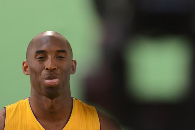 EL SEGUNDO, CA - OCTOBER 01: Kobe Bryant #24 of the Los Angeles Lakers makes a face during a video take during Media Day at Toyota Sports Center on October 1, 2012 in El Segundo, California. (Photo by Harry How/Getty Images)