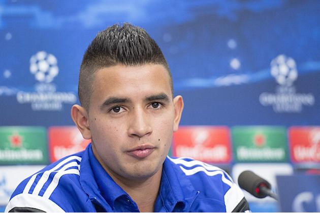 FILE - In this Nov. 25, 2014 file photo FC Basel's Derlis Gonzalez of Paraguay attends a press conference in the St. Jakob-Park stadium in Basel, Switzerland. Basel says on its website that the 21