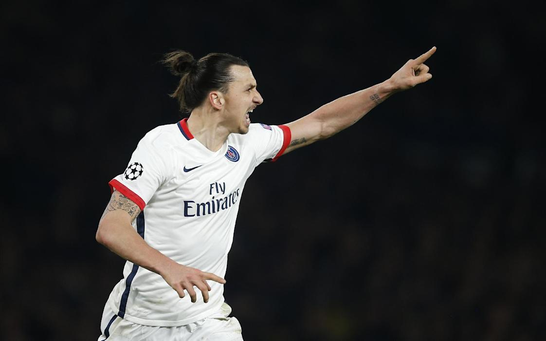 PSG's Zlatan Ibrahimovic celebrates scoring their second goal