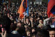 Supporters of former mayoral candidate for the Just Russia opposition party Oleg Shein rally in the southern Russian city of Astrakhan