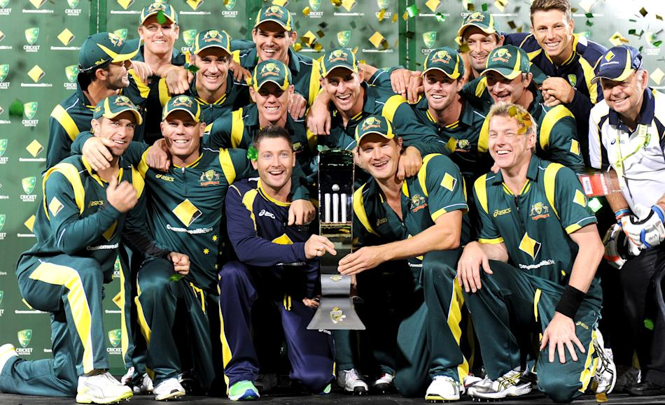 The Australian cricket team celebrates w