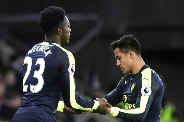 Arsenal's Alexis Sanchez is replaced by Danny Welbeck