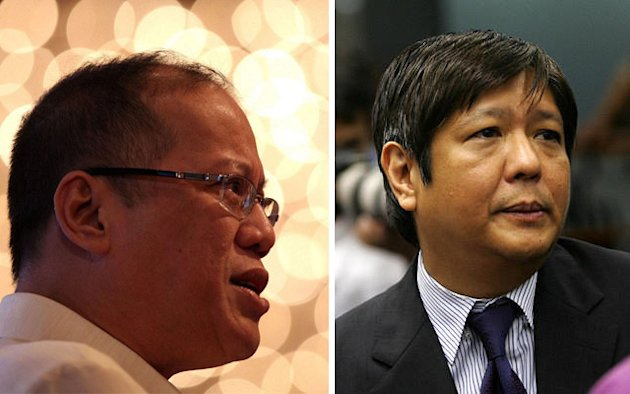 "File photos of President Benigno ""Noynoy"" Aquino III and Senator Ferdinand ""Bongbong"" Marcos Jr."