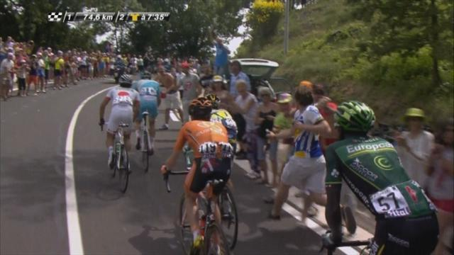 Tour de France - Spectator clotheslined on stage five