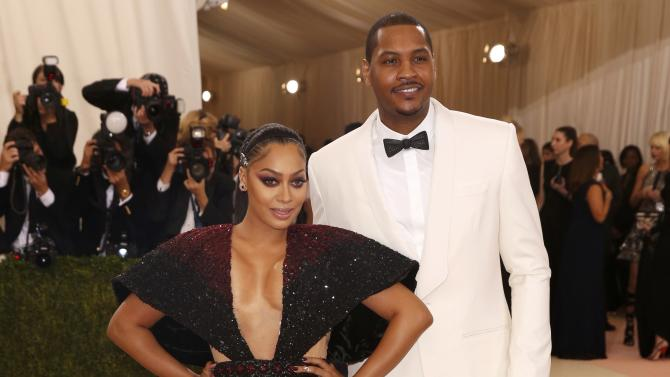 Television personality LaLa Anthony and Carmelo Anthony arrive at the Met Gala in New York