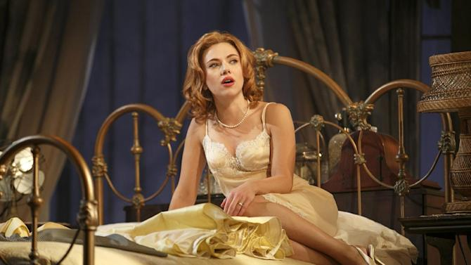 """This undated theater image released by Boneau/Bryan-Brown shows Scarlett Johansson during a performance of """"Cat on a Hot Tin Roof,"""" playing at the Richard Rodgers Theatre in New York. (AP Photo/Boneau/Bryan-Brown, Joan Marcus)"""