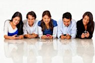 Social Media Connect People with People, Not People with Products image 13440677 group of people texting on their cell phones isolated over a white background