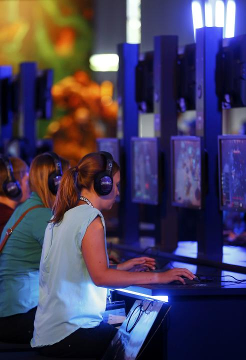 "Gamers play ""Heroes of the Storm"" developed by video game producer Blizzard Entertainment during the Gamescom 2015 fair in Cologne"