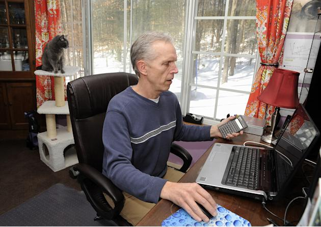In this photo taken Feb. 20, 2015, Rockney Shepheard, owner of a vegan egg substitute company, is seen in his house Stroudsburg, Pa. Shepheard, who created the product named The Vegg, says without the