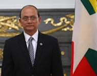 Myanmar's President Thein Sein, pictured in April 2012, is set to head to the United States on Monday for a landmark visit that coincides with a triumphal American tour by opposition leader Aung San Suu Kyi