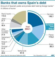 Pie-chart showing the amount of Spanish public and private debt held by foreign banks. Spain formally sought a banking rescue of up to 100 billion euros ($125 billion), kicking off a pivotal week in the battle for the eurozone's future