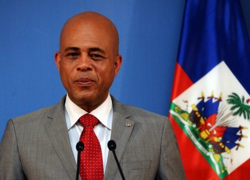 Haiti's President Michel Martelly gives a press conference in Madrid on July 7, 2011. Martelly made a New Year plea for unity, urging his countrymen to rebuild together their shattered country almost three years after a devastating earthquake.