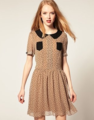 Pleat Polka Dot Dress