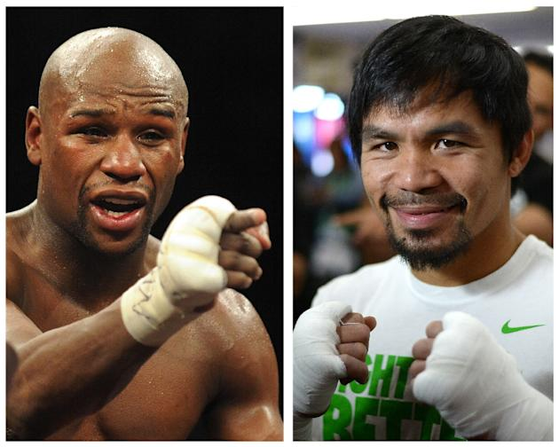 Filipino boxing icon Manny Pacquiao (R) will meet Floyd Mayweather (L) in Las Vegas on May 2, 2015 in the mega-fight their fans have long clamored for
