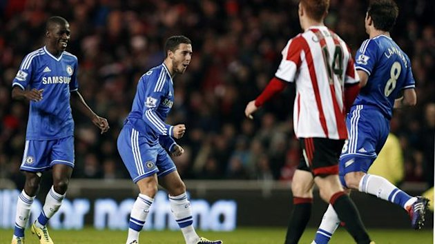 Eden Hazard celebrates a goal for Chelsea against Sunderland (Reuters)