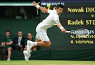 Serbia's Novak Djokovic plays a backhand shot during his third round men's singles victory over Czech Republic's Radek Stepanek on day five of the 2012 Wimbledon Championships tennis tournament at the All England Tennis Club in Wimbledon, southwest London, on June 29, 2012. AFP PHOTO / LEON NEAL RESTRICTED TO EDITORIAL USE